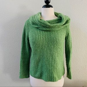 EILEEN FISHER green cowl neck knitted sweater PS